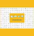 education linear icons big set thin line contour vector image
