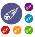 falling meteor with long tail icons set vector image vector image