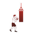 fitness man practicing boxing red lines vector image