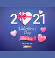 gift box with red ribbon and 3d heart valentines vector image vector image