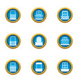 glass factory icons set flat style vector image vector image