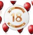 Golden number eighteen years anniversary vector image vector image