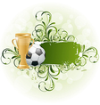 Grunge floral football card with ball and prize vector image vector image