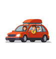 happy family traveling by red car vector image vector image