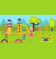 happy kids on children playground vector image vector image