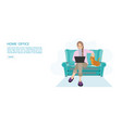 happy woman working from home at sofa with laptop vector image vector image