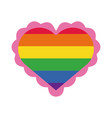 heart with gay flag hand draw style vector image vector image