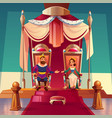 king and queen sitting on thrones in palace royal vector image