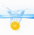 lemon in water splash explosion isolated clip art vector image vector image