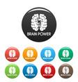light brain power icons set color vector image
