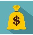 Money sack icon flat style vector image vector image