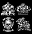 motocross badge design set vector image vector image