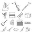 musical instrument outline icons in set collection vector image vector image
