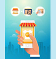 online shopping concept hand holding smartphone vector image