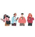 people man woman teen characters using smartphones vector image