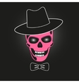 Pink skull in hat vector image