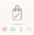 Present shopping bag icon Gift handbag sign vector image