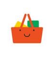 red shopping basket with smile face flat style vector image vector image