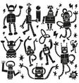 Robots - doodles set vector image vector image