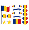 romania flag set collection of symbols heart vector image vector image