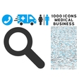 Search Icon with 1000 Medical Business Pictograms vector image