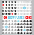 set of 100 snowflake icon collection isolated on vector image
