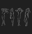 set of female figures collection of outlines vector image vector image