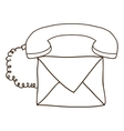 silhouette envelope with handset and cord vector image vector image