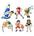 Sticker set with people doing sports vector image vector image