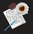 Sudoku game mug of cappuccino and cookies vector image vector image
