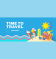 summer vacation time to travel tourism flyer vector image vector image
