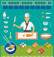 Sushi Chef and Cookware Sets Nigiri Sushi vector image