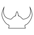 viking helmet icon black color outline vector image vector image