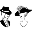 Vintage man and woman vector image
