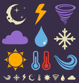 weather icons dark vector image vector image