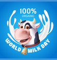 world milk day inscription with white yogurt vector image