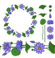 wreath and seamless brush from lotus flower vector image vector image