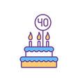 40 birthday cake rgb color icon
