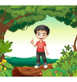 A boy in the nature vector image