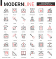 building construction thin red black line icons vector image vector image