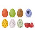 cartoon color dinosaur eggs icons set vector image vector image