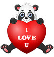 cartoon panda holding red heart vector image vector image