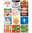 Christmas avatars vector | Price: 5 Credits (USD $5)