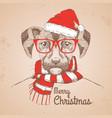 christmas hipster fashion animal dog vector image vector image