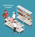commercial kitchen cooking isometric composition vector image vector image