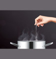 cooking with salt composition vector image