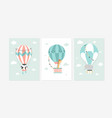 cute posters with sweet animals and balloons vector image