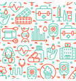 diabetes seamless pattern with thin line icons vector image vector image