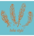 Feathers in boho style vector image vector image