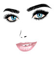 female face with blue eyes and pink lips vector image vector image